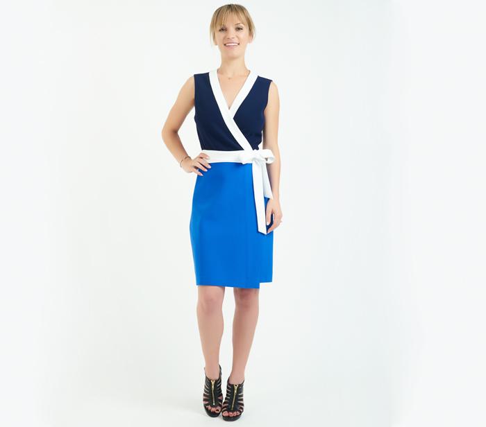 Diane Von Furstenberg Gracie Colorblock Wrap Dress