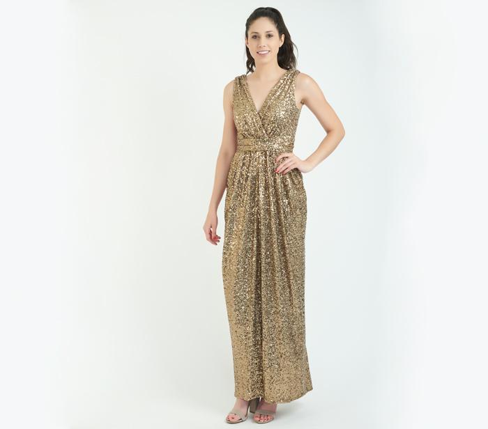 Badgley Mischka Gold Glitz Gown – SZ 2 – DesignerShare