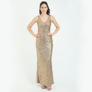 Ralph Lauren Gold Sequins V Neck Gown