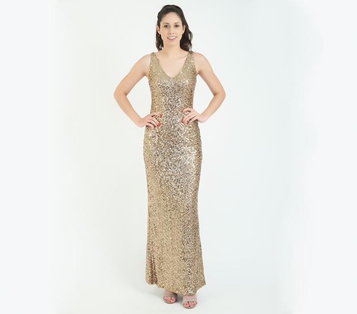 d27a2663314 Ralph Lauren Gold Sequins V Neck Gown – SZ4 – DesignerShare