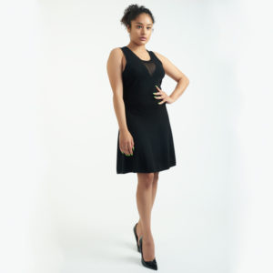 3.1 Phillip Lim Fit and Flare Black Dress with Illusion Neckline