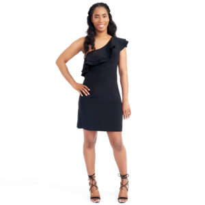 Marley Black Ruffle One Shoulder Dress