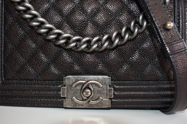 DesignerShare Chanel Black Caviar Quilted Medium Flap Boy Bag - Detail