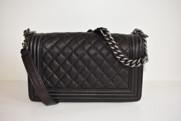 DesignerShare Chanel Black Caviar Quilted Medium Flap Boy Bag - Back
