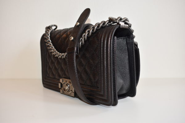 DesignerShare Chanel Black Caviar Quilted Medium Flap Boy Bag - Side