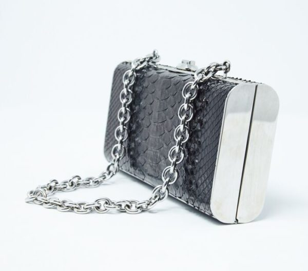DesignerShare Miu Miu Black Python Box Clutch - Side