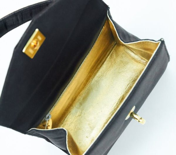 DesignerShare Chanel Vintage Top Handle Flap Bag Satin - Inside