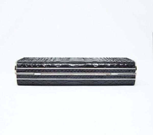 DesignerShare Miu Miu Black Python Box Clutch - Bottom