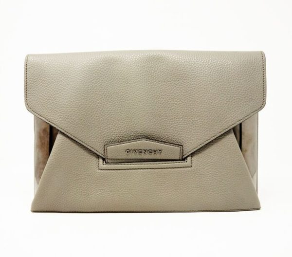 DesignerShare Givenchy Gray Antigona Leather Evening Envelope Clutch Bag - Front