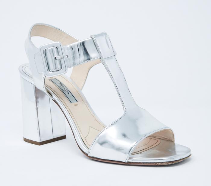 001f88a7424 Prada Metallic Silver T-Strap Block Heel Sandals – DesignerShare