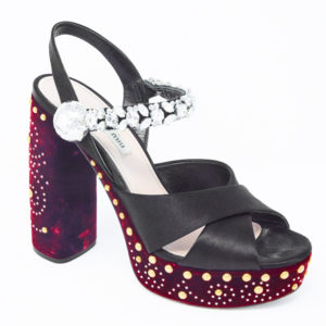 244c4c2a2 Miu Miu Black and Bordeaux Satin and Velvet Embellished Platform Sandals