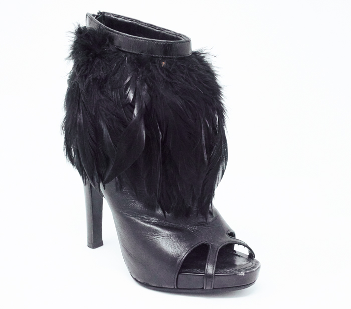 98aa5088d6abb Givenchy Black Leather Peeptoe Feather Booties
