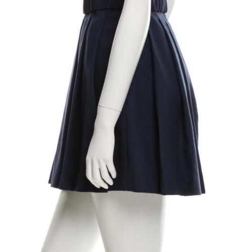 3.1 Phillip Lim Navy Pleated Wool Mini Skirt With Belt Side