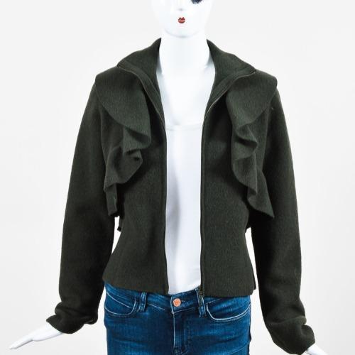 Valentino Dark Green Felted Wool Ruffle Trim Long Sleeve Jacket