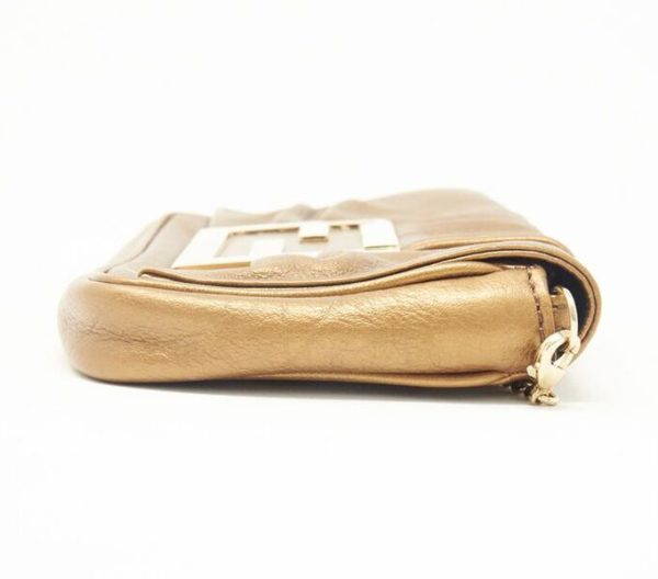 DesignerShare Fendi Mia Metallic Clutch with Removable Chain - Side