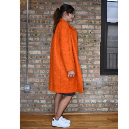 Fausto Puglisi Orange Wool Coat Side