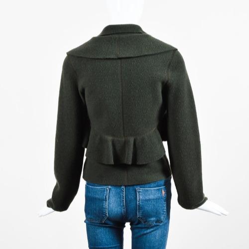 Valentino Dark Green Felted Wool Ruffle Trim Long Sleeve Jacket Back
