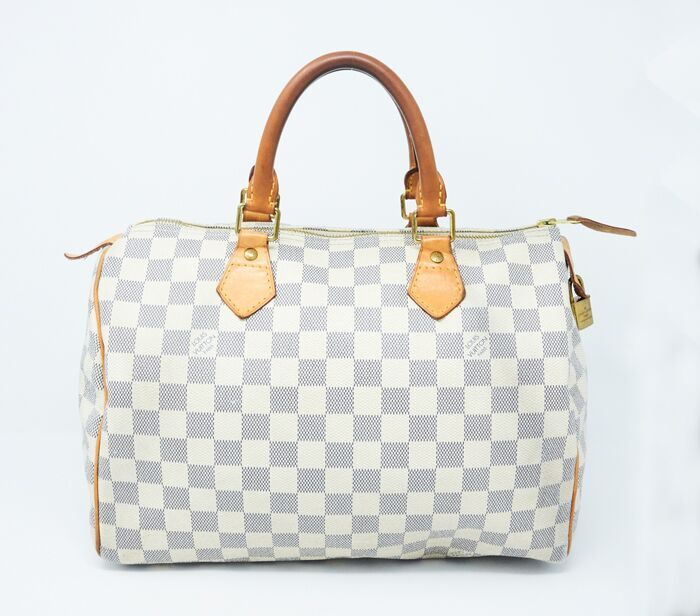 2864bb74aa18 DesignerShare Louis Vuitton Damier Azur Speedy Bandouliere 30 Tote - Front