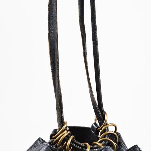 DesignerShare Prada Black Leather Gold Tone Stud Drawstring Sack Bag – Detail 2
