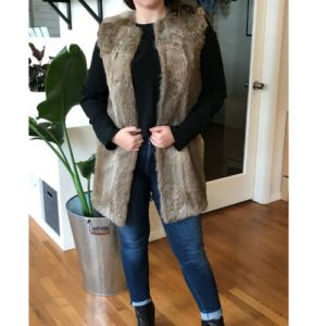Jenni Kayne Genuine Rabbit Fur Collarless Vest