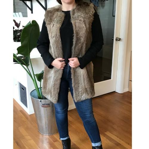 Jenni Kayne Genuine Rabbit Fur Collarless Vest