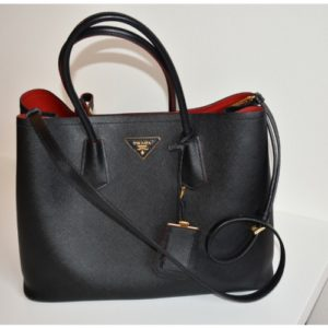 DesignerShare Prada Saffiano Cuir Double Medium Tote Bag - Front
