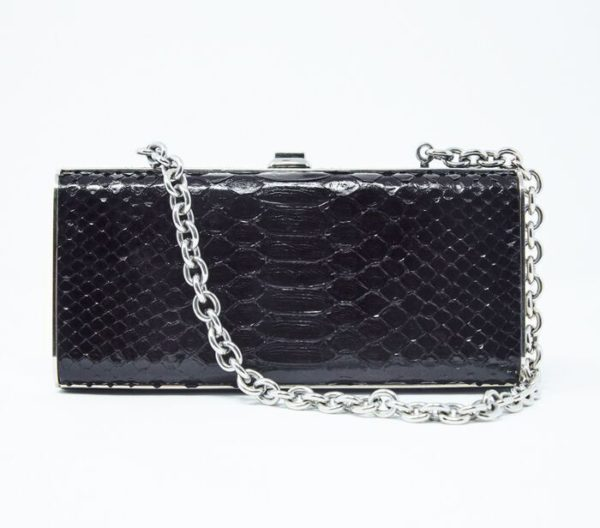 DesignerShare Miu Miu Black Python Box Clutch - Front