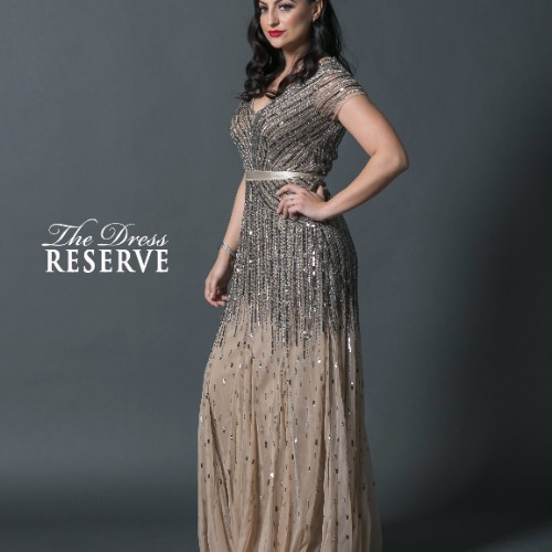 Adrianna Papell Beaded Champagne Cap Sleeve Gown