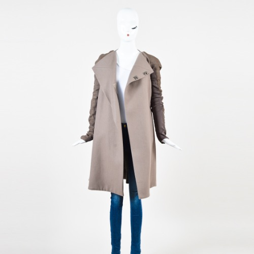 Rick Owens Taupe Wool Leather Knit Sleeve Asymmetric Long Coat