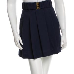 3.1 Phillip Lim Navy Pleated Wool Mini Skirt With Belt