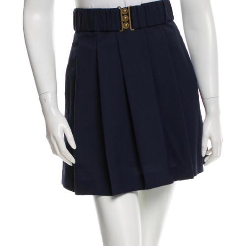 3.1 Phillip Lim Navy Pleated Wool Mini Skirt With Belt