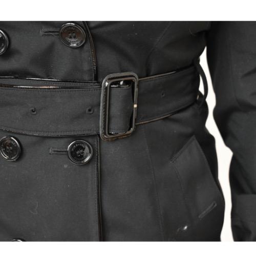 Burberry Short Black Trench Coat Waist Detail