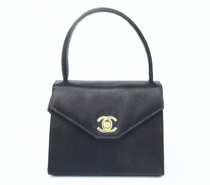 50a9b997ddbd DesignerShare Chanel Vintage Top Handle Flap Bag Satin - Front