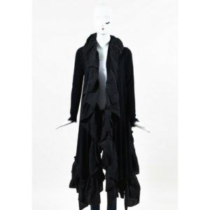 Marie Saint Pierre Black Wool Ruffle Cropped Long Sleeve Shrug Cardigan