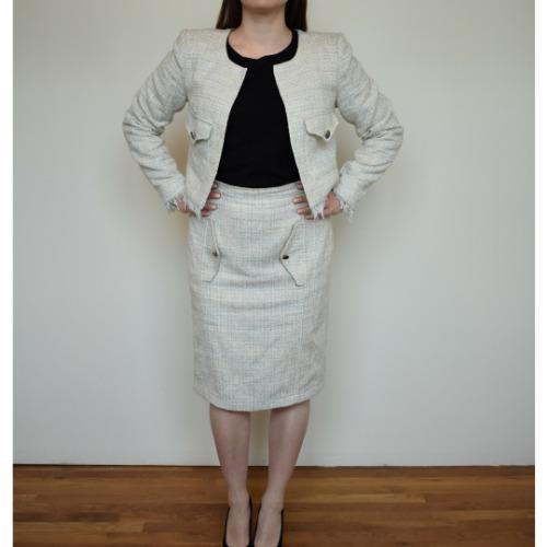 Anastasia Kovall Beige Skirt Suit Front