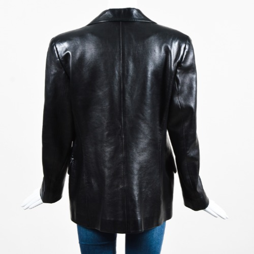 Gucci Black Leather Tailored Two Button Long Sleeve Jacket Blazer Back