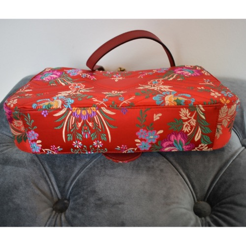 DesignerShare Gucci Red Floral Marmont Bag - Bottom