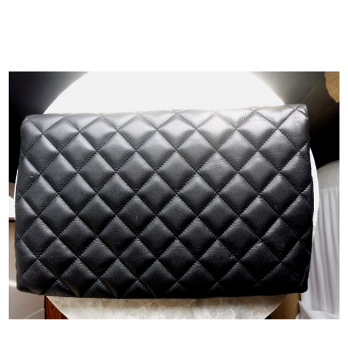 St. John Collection Black Quilted Leather Fold-Over Clutch 2