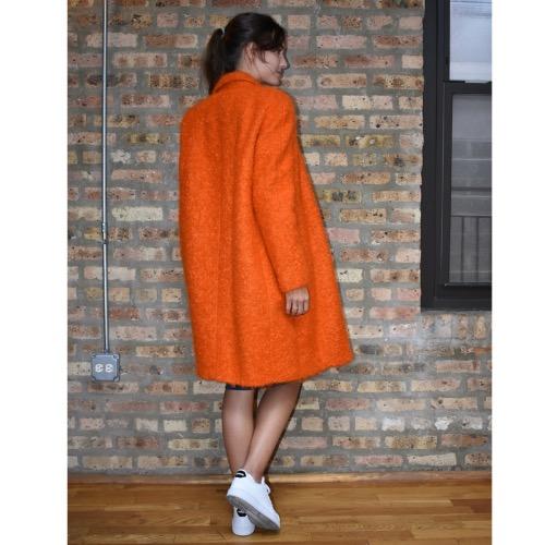 Fausto Puglisi Orange Wool Coat Back