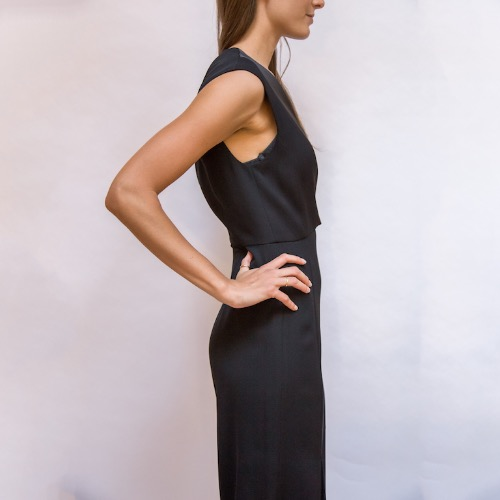 Halston Heritage Black Cutout Vest Turnlock Flowy Jumpsuit Side