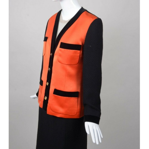 Vintage Chanel Black & Orange Satin Panel & Knit Skirt Suit Side