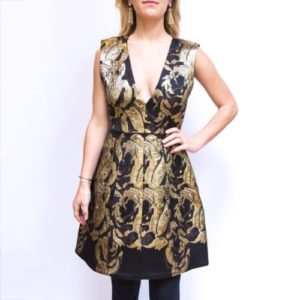Alice & Olivia plunging Gold and Black Dress