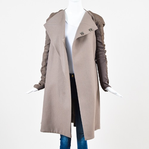 Rick Owens Taupe Wool Leather Knit Sleeve Asymmetric Long Coat Front