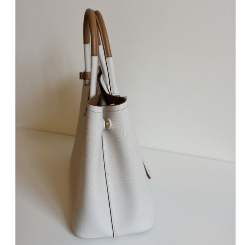 DesignerShare Prada Saffiano Cuir Medium Double Tote - Side