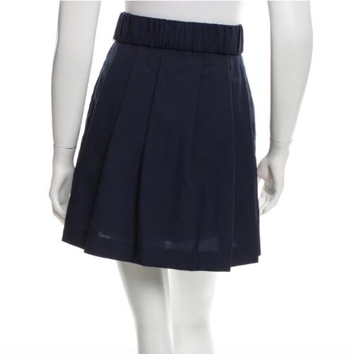 3.1 Phillip Lim Navy Pleated Wool Mini Skirt With Belt Back