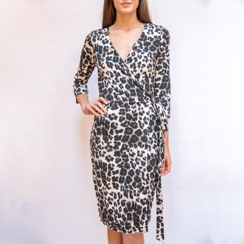 c79e2929a038 Diane von Furstenberg New Julian Two Snow Leopard-Print Wrap Dress ...
