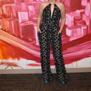"DVF Black Patterned ""Ireland"" Halter Jumpsuit"