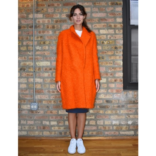 Fausto Puglisi Orange Wool Coat Front