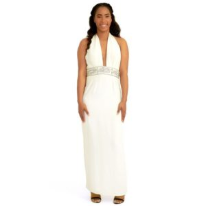 DesignerShare Marchesa Notte White Embellished Halter Gown - Front