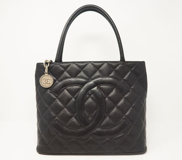 419697b55a Chanel Caviar Quilted Silver Medallion Tote Bag
